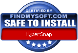 FindMySoft certifies that HyperSnap is SAFE TO INSTALL and does not contain any adware, spywae or viruses that might harm your computer or steal your informations